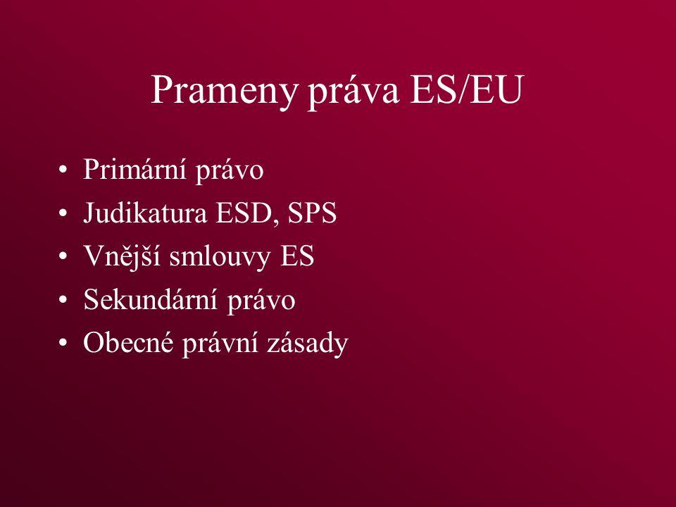 Prameny práva ES/EU Primární právo Judikatura ESD, SPS Vnější smlouvy ES Sekundární právo Obecné právní zásady