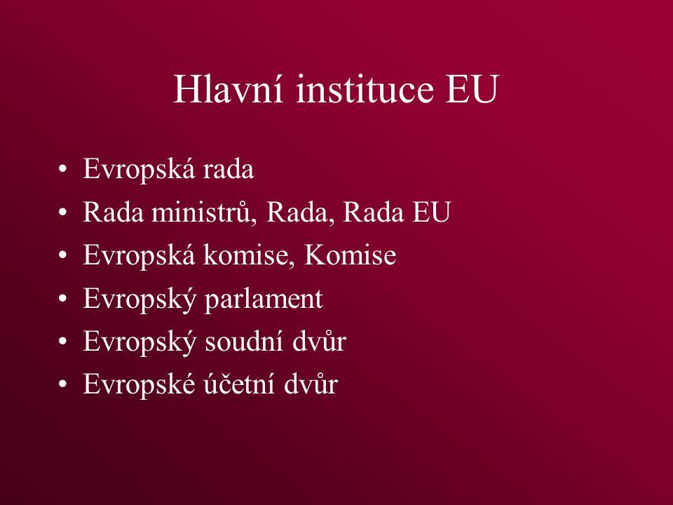 Hlavní instituce EU Evropská rada Rada ministrů, Rada, Rada EU Evropská komise, Komise Evropský parlament Evropský soudní dvůr Evropské účetní dvůr
