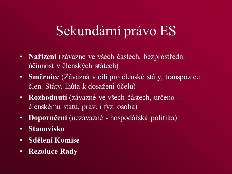 Sekundární právo ES Nařízení (závazné ve všech částech, bezprostřední účinnost v členských státech) Směrnice (Závazná v cíli pro členské státy, transpozice člen.
