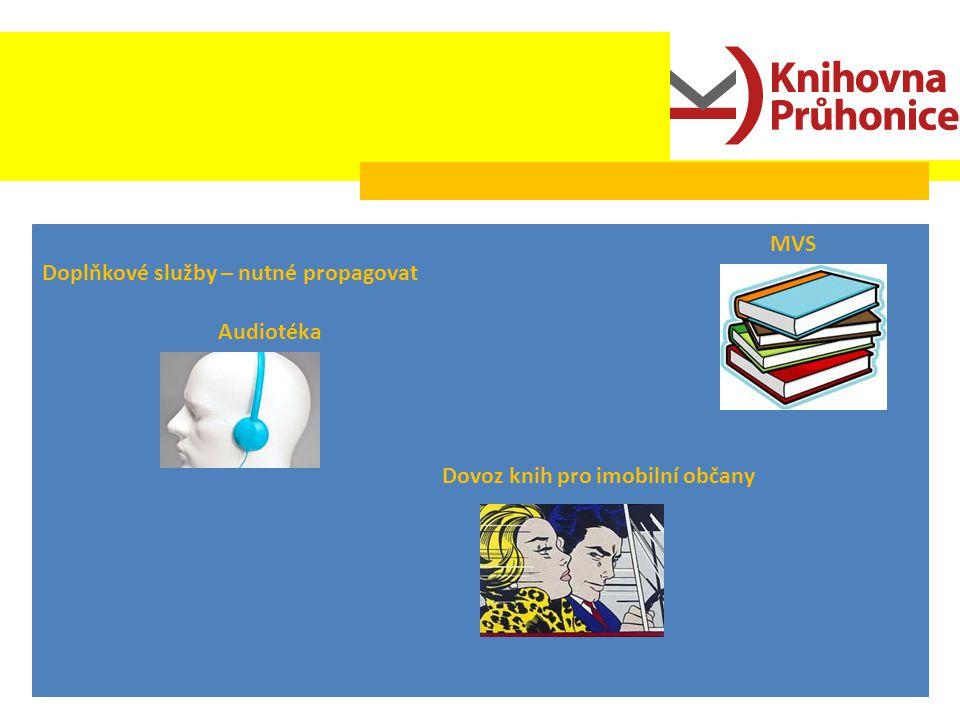 Doplňkové služby – nutné propagovat Audiotéka Dovoz knih pro imobilní občany MVS
