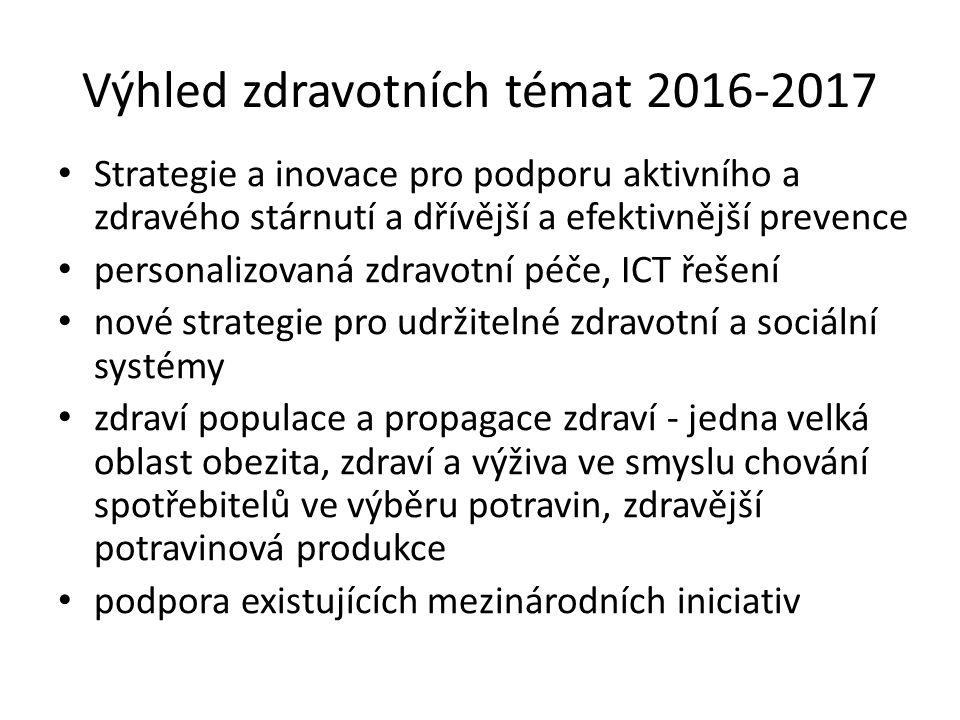 Výhled zdravotních témat 2016-2017 Strategie a inovace pro podporu aktivního a zdravého stárnutí a dřívější a efektivnější prevence personalizovaná zd