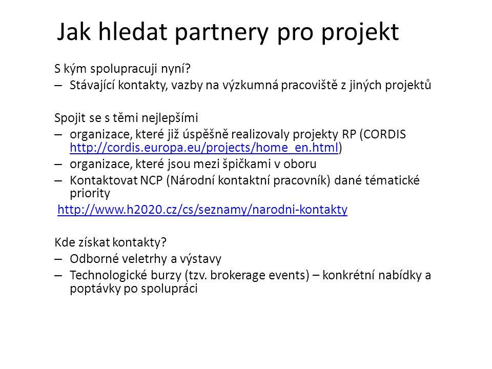 Jak hledat partnery pro projekt S kým spolupracuji nyní? – Stávající kontakty, vazby na výzkumná pracoviště z jiných projektů Spojit se s těmi nejlepš