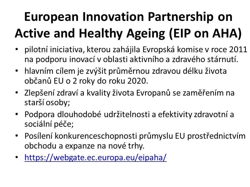 European Innovation Partnership on Active and Healthy Ageing (EIP on AHA) pilotní iniciativa, kterou zahájila Evropská komise v roce 2011 na podporu inovací v oblasti aktivního a zdravého stárnutí.