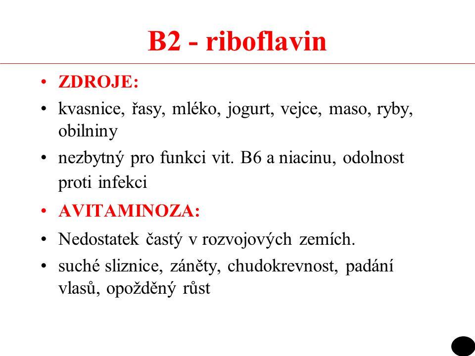 B2 - riboflavin ZDROJE: kvasnice, řasy, mléko, jogurt, vejce, maso, ryby, obilniny nezbytný pro funkci vit. B6 a niacinu, odolnost proti infekci AVITA