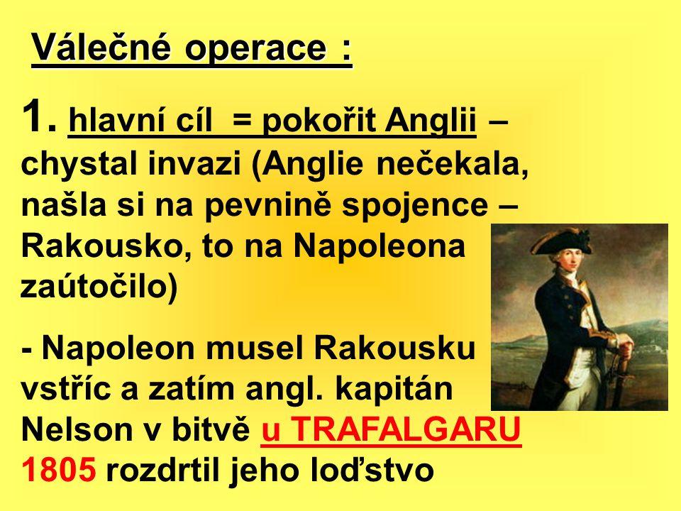 Válečné operace : 1. hlavní cíl = pokořit Anglii – chystal invazi (Anglie nečekala, našla si na pevnině spojence – Rakousko, to na Napoleona zaútočilo