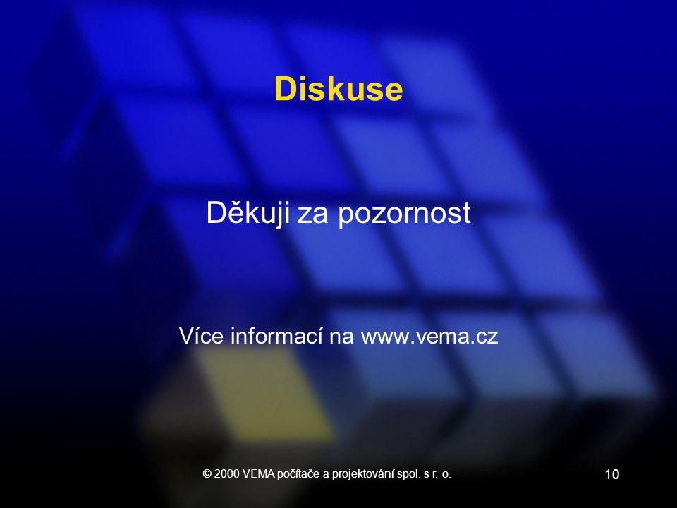 © 2000 VEMA počítače a projektování spol. s r. o. 10 Diskuse Děkuji za pozornost Více informací na www.vema.cz