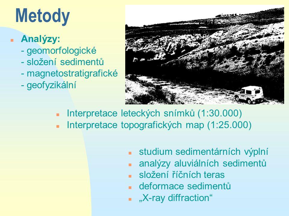 """Metody n Analýzy: - geomorfologické - složení sedimentů - magnetostratigrafické - geofyzikální n studium sedimentárních výplní n analýzy aluviálních sedimentů n složení říčních teras n deformace sedimentů n """"X-ray diffraction n Interpretace leteckých snímků (1:30.000) n Interpretace topografických map (1:25.000)"""