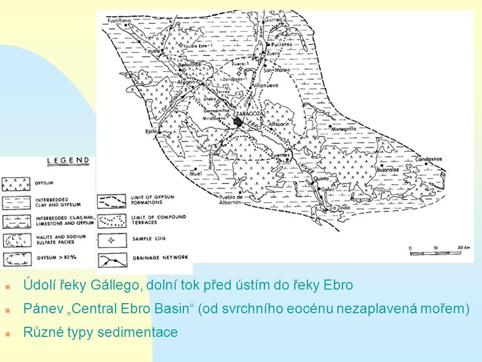 """n Údolí řeky Gállego, dolní tok před ústím do řeky Ebro n Pánev """"Central Ebro Basin (od svrchního eocénu nezaplavená mořem) n Různé typy sedimentace"""