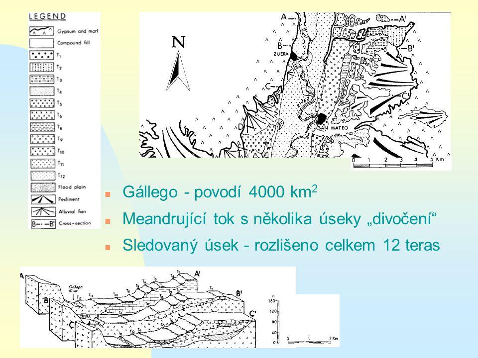 """n Gállego - povodí 4000 km 2 n Meandrující tok s několika úseky """"divočení n Sledovaný úsek - rozlišeno celkem 12 teras"""