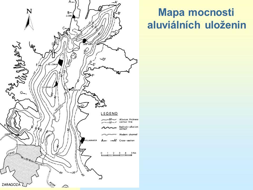 Mapa mocnosti aluviálních uloženin