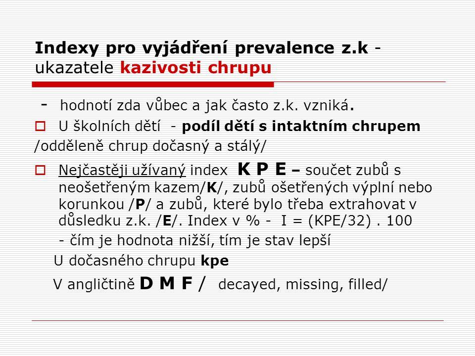 Indexy pro vyjádření prevalence z.k - ukazatele kazivosti chrupu - hodnotí zda vůbec a jak často z.k. vzniká.  U školních dětí - podíl dětí s intaktn