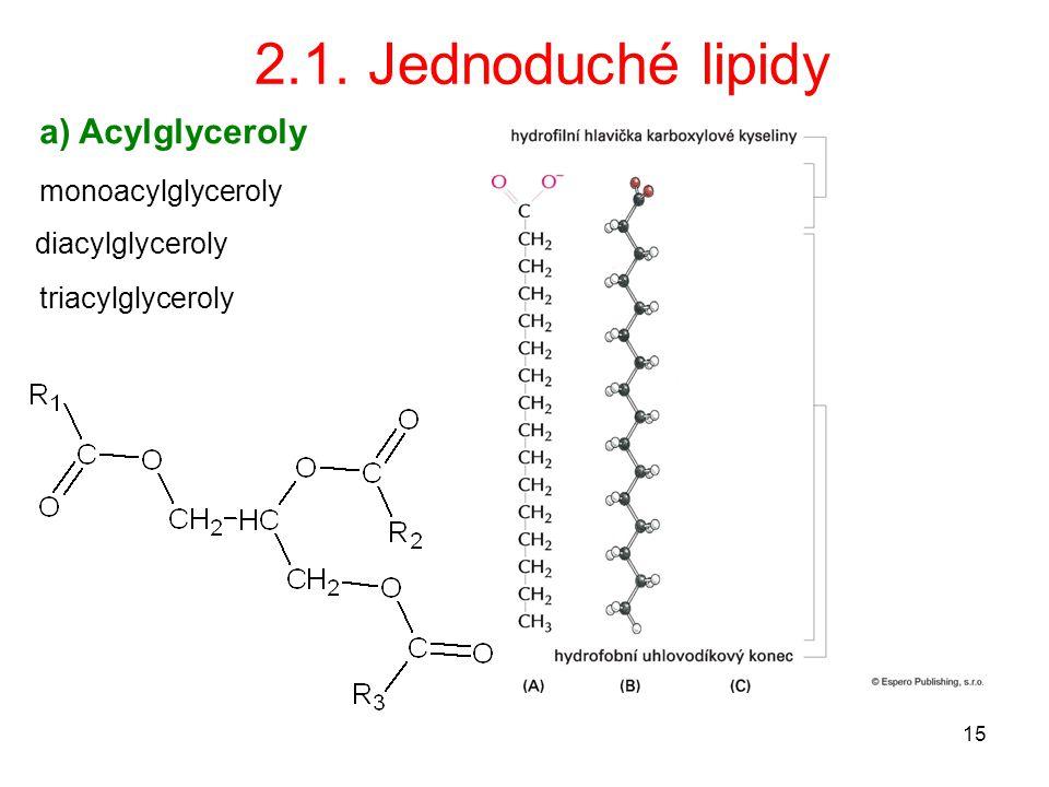 15 2.1. Jednoduché lipidy a) Acylglyceroly monoacylglyceroly diacylglyceroly triacylglyceroly