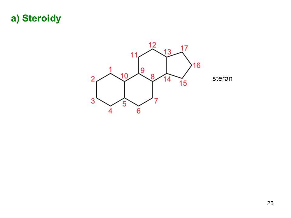 25 a) Steroidy steran