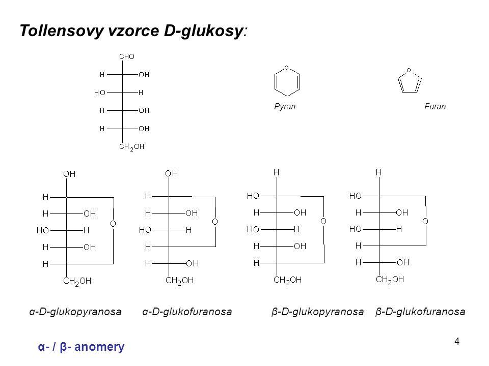 4 Tollensovy vzorce D-glukosy: α-D-glukopyranosa α-D-glukofuranosa β-D-glukopyranosa β-D-glukofuranosa α- / β- anomery Pyran Furan