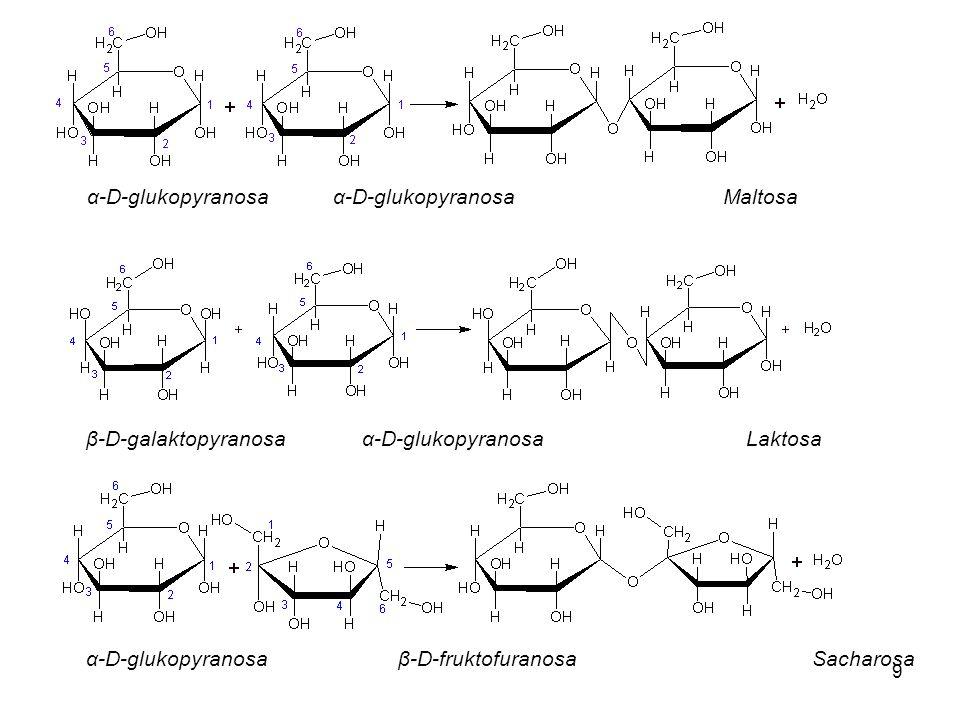 9 β-D-galaktopyranosaα-D-glukopyranosaLaktosa α-D-glukopyranosa β-D-fruktofuranosaSacharosa α-D-glukopyranosa α-D-glukopyranosaMaltosa