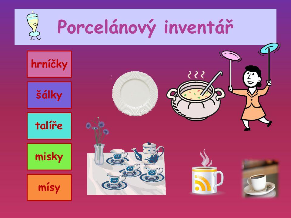 Porcelánový inventář hrníčky šálky talíře misky mísy