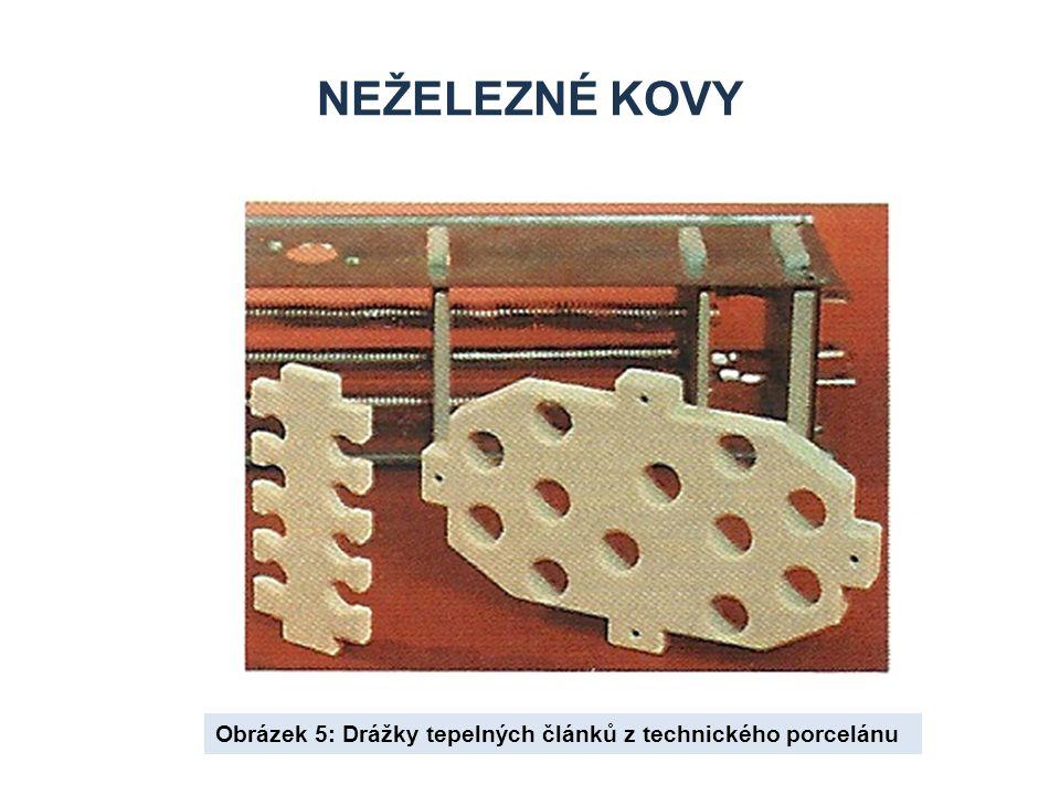 NEŽELEZNÉ KOVY Obrázek 5: Drážky tepelných článků z technického porcelánu