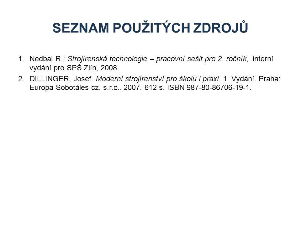 1.Nedbal R.: Strojírenská technologie – pracovní sešit pro 2. ročník, interní vydání pro SPŠ Zlín, 2008. 2.DILLINGER, Josef. Moderní strojírenství pro