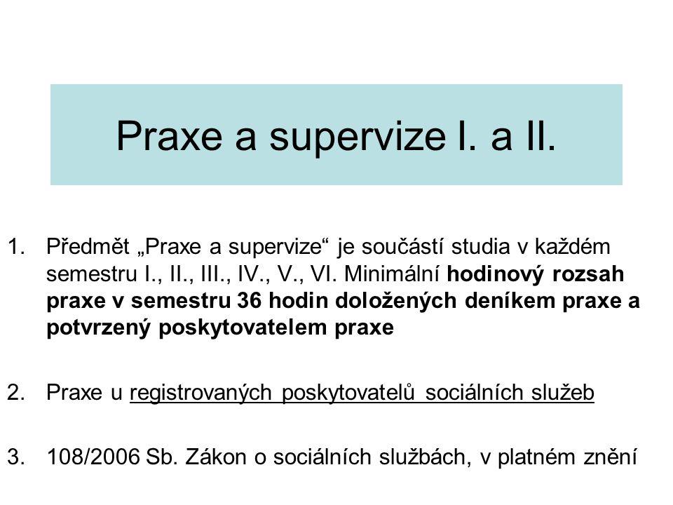 """Praxe a supervize I. a II. 1.Předmět """"Praxe a supervize"""" je součástí studia v každém semestru I., II., III., IV., V., VI. Minimální hodinový rozsah pr"""