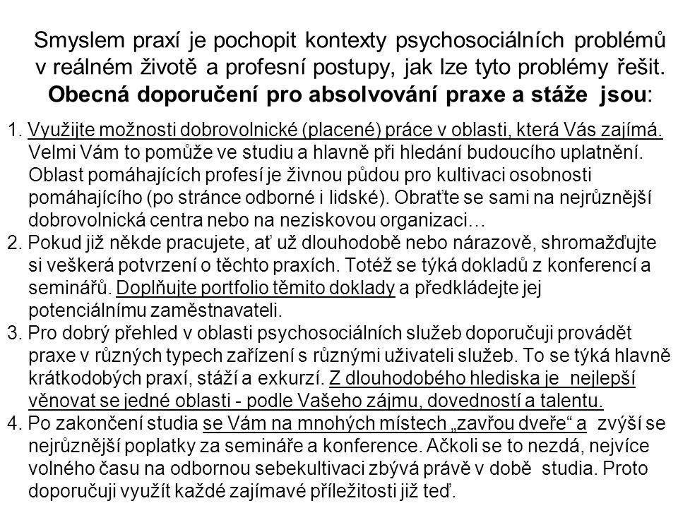 Smyslem praxí je pochopit kontexty psychosociálních problémů v reálném životě a profesní postupy, jak lze tyto problémy řešit. Obecná doporučení pro a