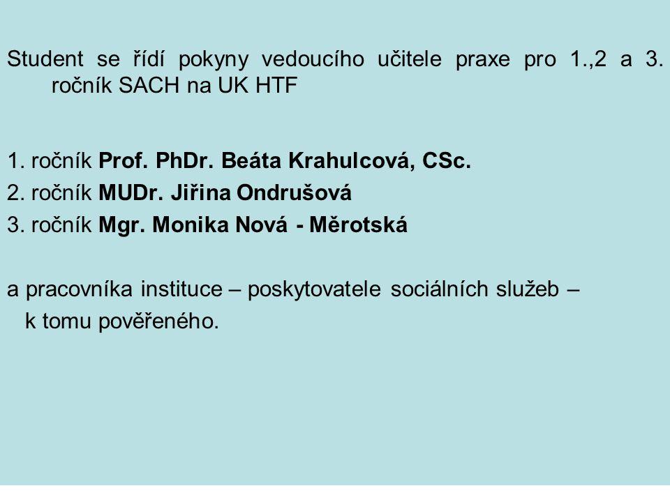 Student se řídí pokyny vedoucího učitele praxe pro 1.,2 a 3. ročník SACH na UK HTF 1. ročník Prof. PhDr. Beáta Krahulcová, CSc. 2. ročník MUDr. Jiřina