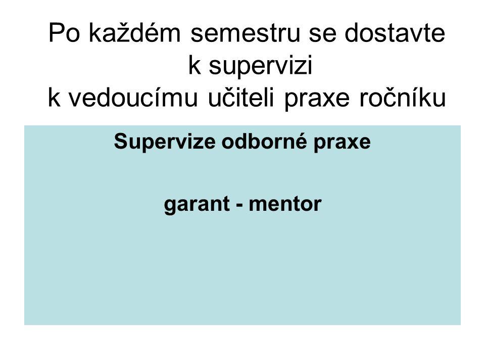 Po každém semestru se dostavte k supervizi k vedoucímu učiteli praxe ročníku Supervize odborné praxe garant - mentor