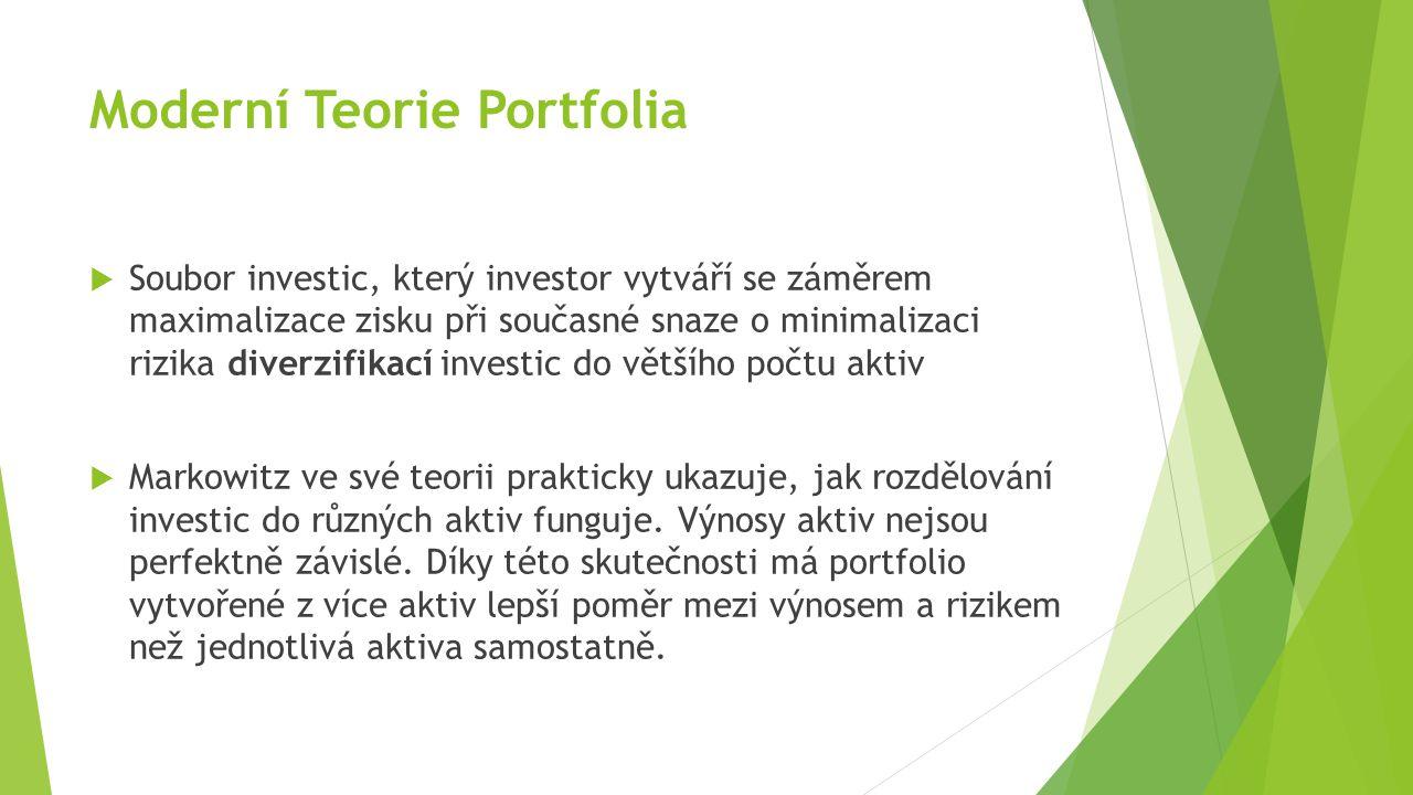 Moderní Teorie Portfolia  Soubor investic, který investor vytváří se záměrem maximalizace zisku při současné snaze o minimalizaci rizika diverzifikací investic do většího počtu aktiv  Markowitz ve své teorii prakticky ukazuje, jak rozdělování investic do různých aktiv funguje.