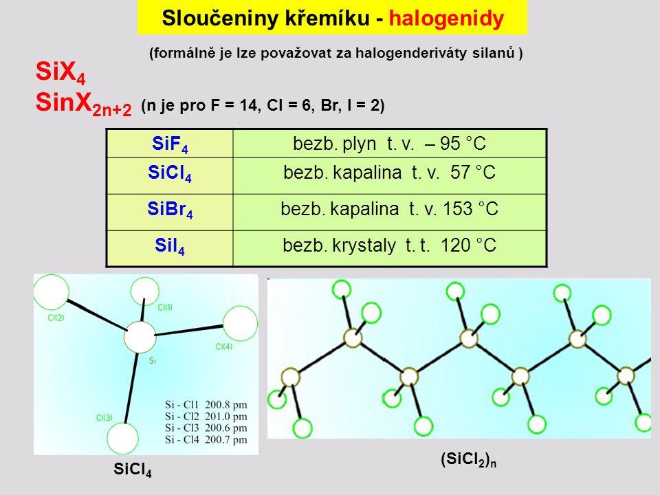 Sloučeniny křemíku - halogenidy (formálně je lze považovat za halogenderiváty silanů ) SiX 4 SinX 2n+2 (n je pro F = 14, Cl = 6, Br, I = 2) SiF 4 bezb.