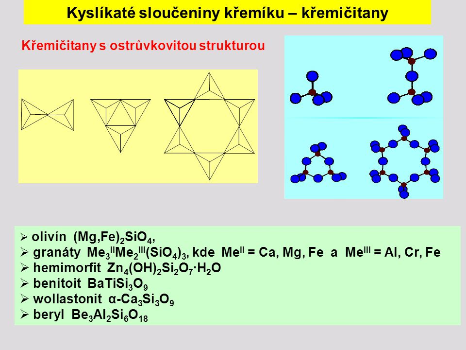 Křemičitany s ostrůvkovitou strukturou  olivín (Mg,Fe) 2 SiO 4,  granáty Me 3 II Me 2 III (SiO 4 ) 3, kde Me II = Ca, Mg, Fe a Me III = Al, Cr, Fe  hemimorfit Zn 4 (OH) 2 Si 2 O 7 ∙H 2 O  benitoit BaTiSi 3 O 9  wollastonit α-Ca 3 Si 3 O 9  beryl Be 3 Al 2 Si 6 O 18