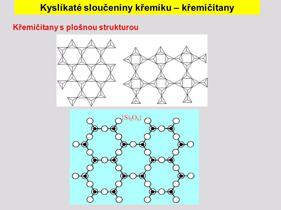 Křemičitany s plošnou strukturou Kyslíkaté sloučeniny křemíku – křemičitany