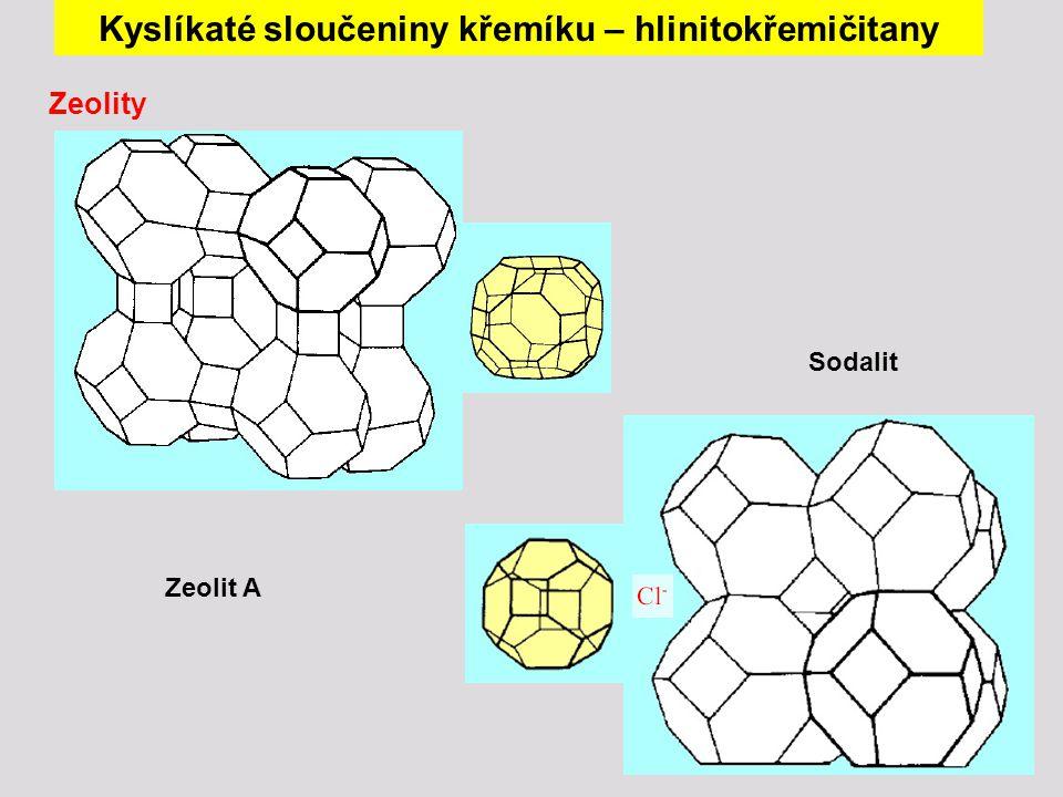 Kyslíkaté sloučeniny křemíku – hlinitokřemičitany Zeolity Zeolit A Sodalit