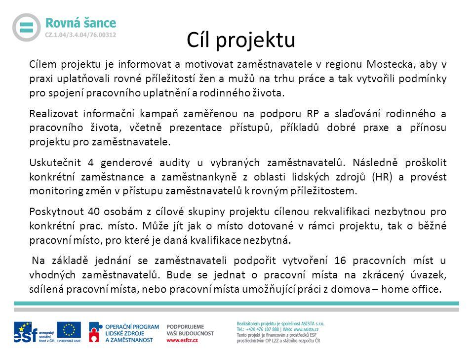 Cílem projektu je informovat a motivovat zaměstnavatele v regionu Mostecka, aby v praxi uplatňovali rovné příležitostí žen a mužů na trhu práce a tak vytvořili podmínky pro spojení pracovního uplatnění a rodinného života.