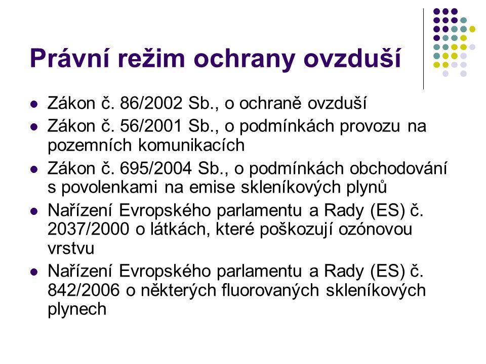Právní režim ochrany ovzduší Zákon č. 86/2002 Sb., o ochraně ovzduší Zákon č. 56/2001 Sb., o podmínkách provozu na pozemních komunikacích Zákon č. 695