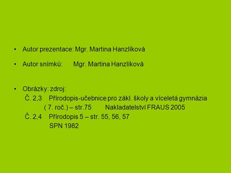 Autor prezentace: Mgr. Martina Hanzlíková Autor snímků: Mgr. Martina Hanzlíková Obrázky: zdroj: Č. 2,3 Přírodopis-učebnice pro zákl. školy a víceletá