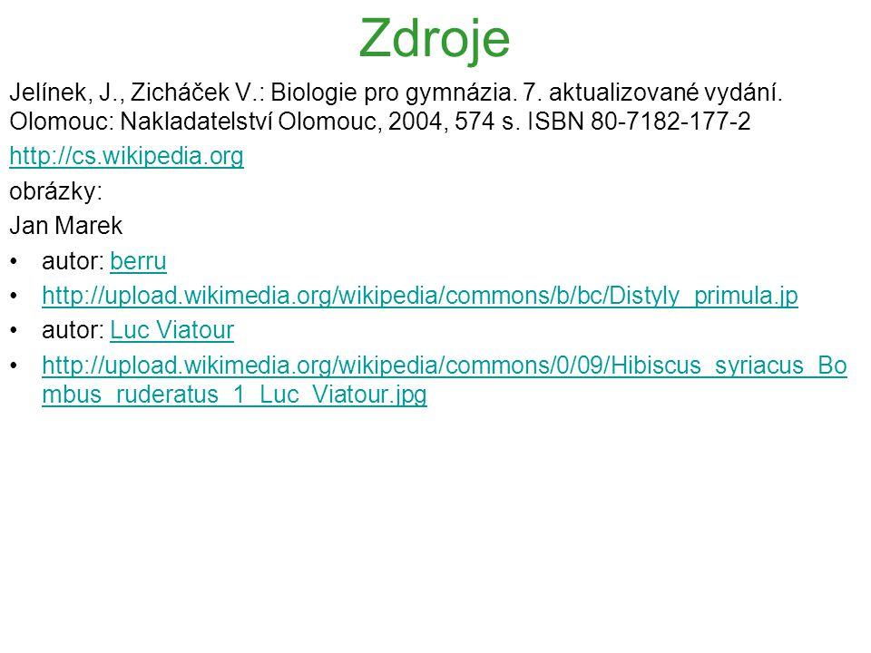 Zdroje Jelínek, J., Zicháček V.: Biologie pro gymnázia. 7. aktualizované vydání. Olomouc: Nakladatelství Olomouc, 2004, 574 s. ISBN 80-7182-177-2 http