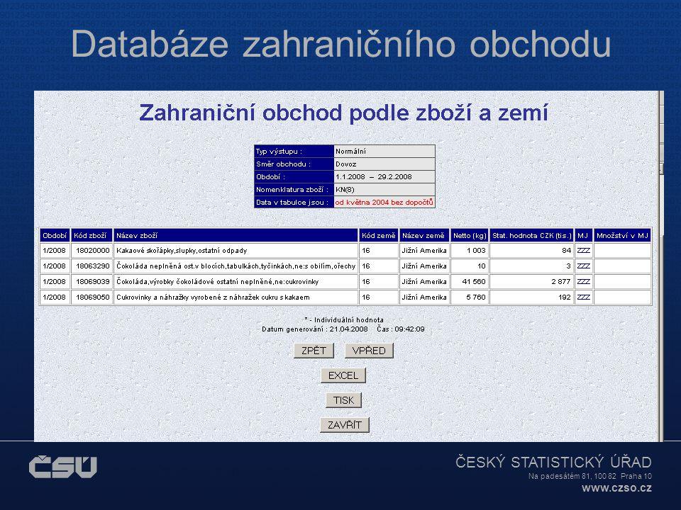 ČESKÝ STATISTICKÝ ÚŘAD Na padesátém 81, 100 82 Praha 10 www.czso.cz Databáze zahraničního obchodu