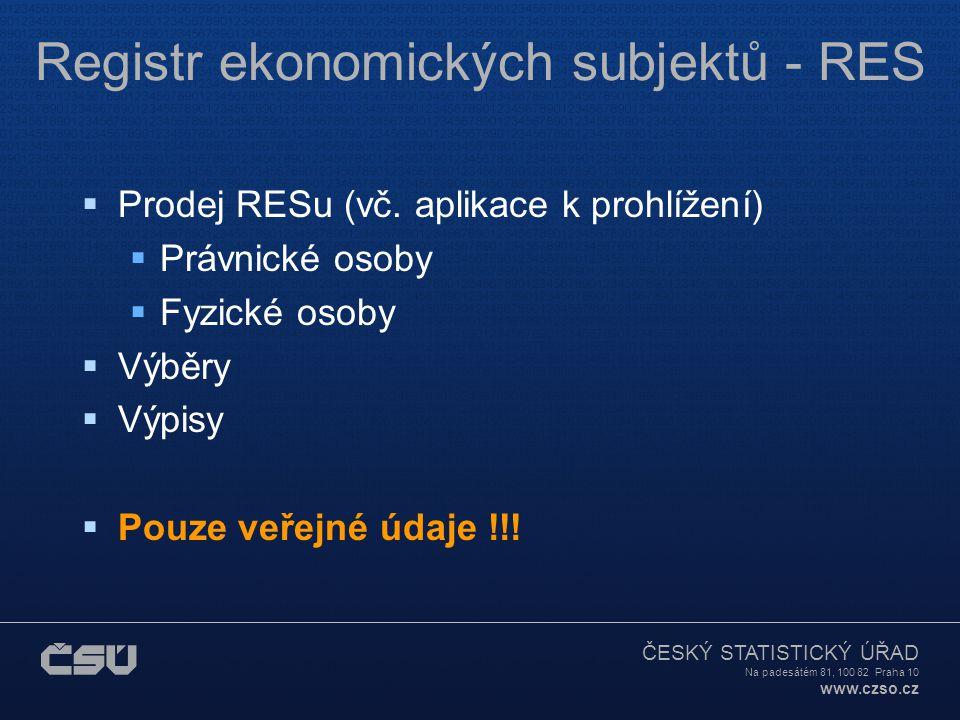 ČESKÝ STATISTICKÝ ÚŘAD Na padesátém 81, 100 82 Praha 10 www.czso.cz Registr ekonomických subjektů - RES  Prodej RESu (vč.