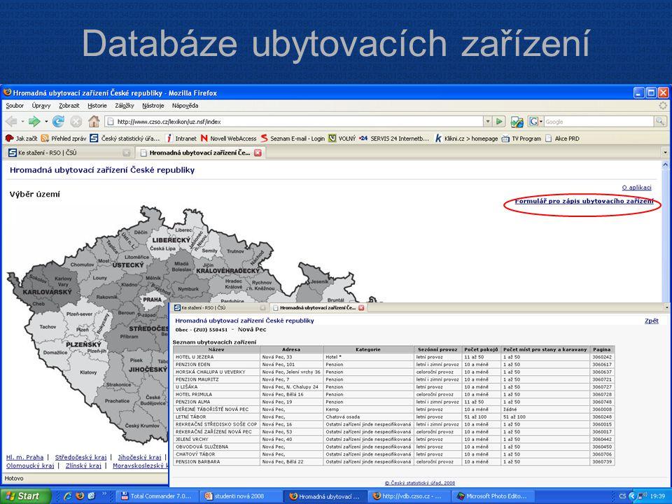 ČESKÝ STATISTICKÝ ÚŘAD Na padesátém 81, 100 82 Praha 10 www.czso.cz Databáze ubytovacích zařízení