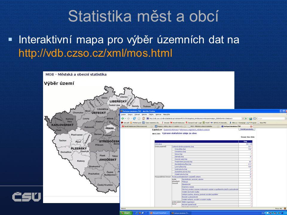 ČESKÝ STATISTICKÝ ÚŘAD Na padesátém 81, 100 82 Praha 10 www.czso.cz Statistika měst a obcí  Interaktivní mapa pro výběr územních dat na http://vdb.czso.cz/xml/mos.html