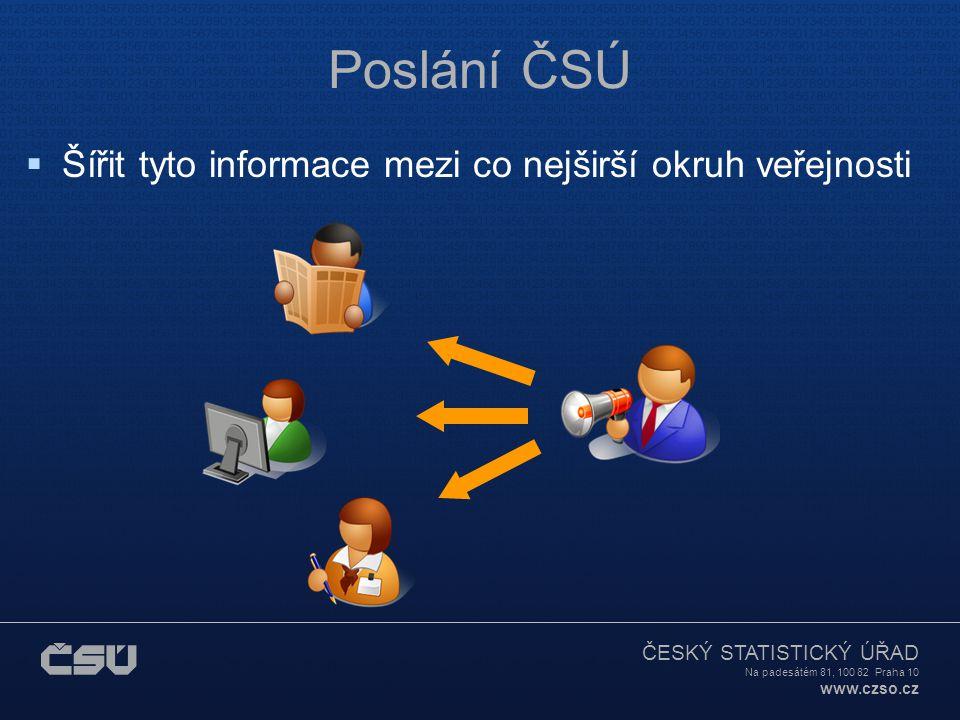 ČESKÝ STATISTICKÝ ÚŘAD Na padesátém 81, 100 82 Praha 10 www.czso.cz Poslání ČSÚ  Šířit tyto informace mezi co nejširší okruh veřejnosti