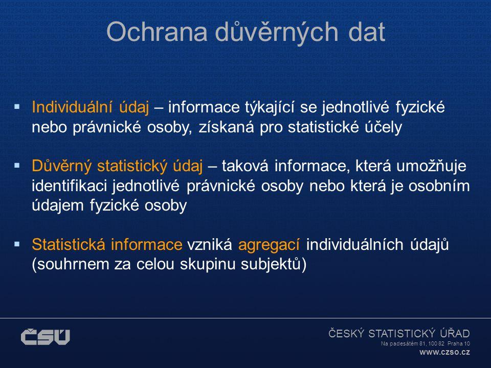 ČESKÝ STATISTICKÝ ÚŘAD Na padesátém 81, 100 82 Praha 10 www.czso.cz Ochrana důvěrných dat  Individuální údaj – informace týkající se jednotlivé fyzické nebo právnické osoby, získaná pro statistické účely  Důvěrný statistický údaj – taková informace, která umožňuje identifikaci jednotlivé právnické osoby nebo která je osobním údajem fyzické osoby  Statistická informace vzniká agregací individuálních údajů (souhrnem za celou skupinu subjektů)