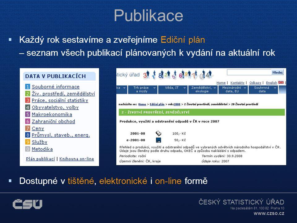 ČESKÝ STATISTICKÝ ÚŘAD Na padesátém 81, 100 82 Praha 10 www.czso.cz Databáze on-line veřejně přístupné  Databáze zahraničního obchodu  Veřejná databáze  Registr ekonomických subjektů  Registr sčítacích obvodů a budov  Databáze ubytovacích zařízení