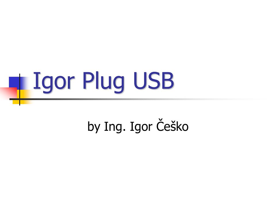 Igor Plug USB by Ing. Igor Češko