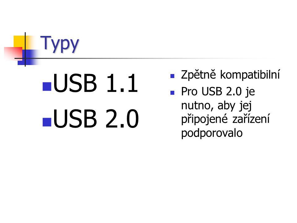 Typy USB 1.1 USB 2.0 Zpětně kompatibilní Pro USB 2.0 je nutno, aby jej připojené zařízení podporovalo
