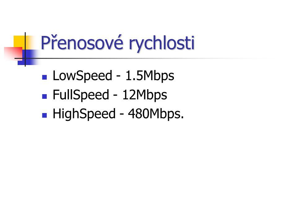 Přenosové rychlosti LowSpeed - 1.5Mbps FullSpeed - 12Mbps HighSpeed - 480Mbps.