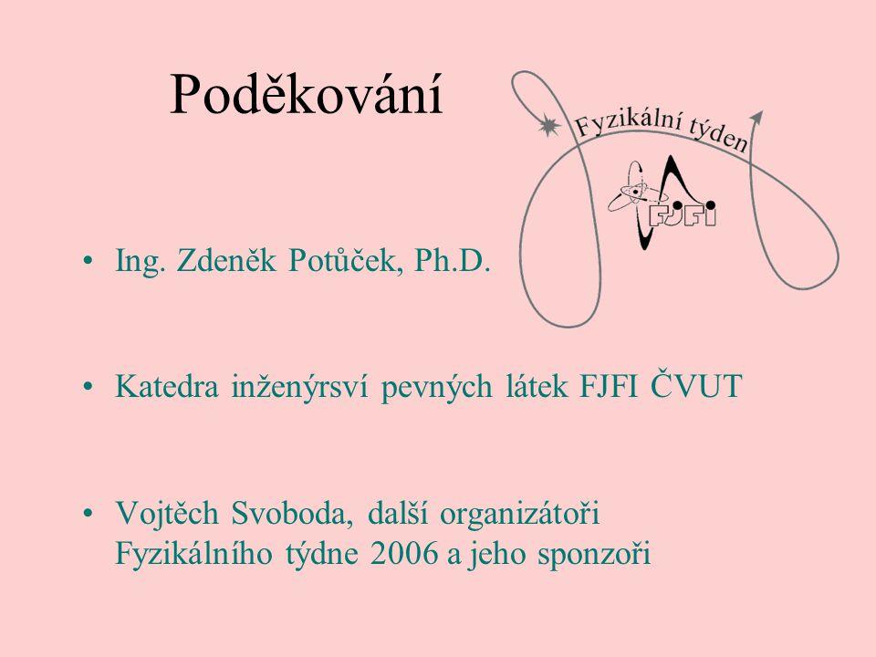Poděkování Ing. Zdeněk Potůček, Ph.D. Katedra inženýrsví pevných látek FJFI ČVUT Vojtěch Svoboda, další organizátoři Fyzikálního týdne 2006 a jeho spo
