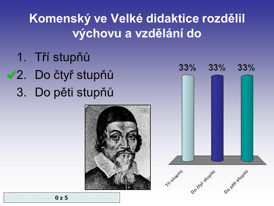 První velká pedagogická práce Komenského se nazývá 0 z 5 1.Velká didaktika 2.Labyrint světa a ráj srdce 3.O poezii české
