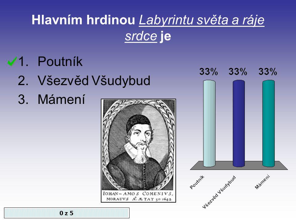 Dílo, ve kterém se Komenský zabývá učením latiny: 0 z 5 1.Brána jazyků otevřená 2.Informatorium školy mateřské 3.Velká didaktika
