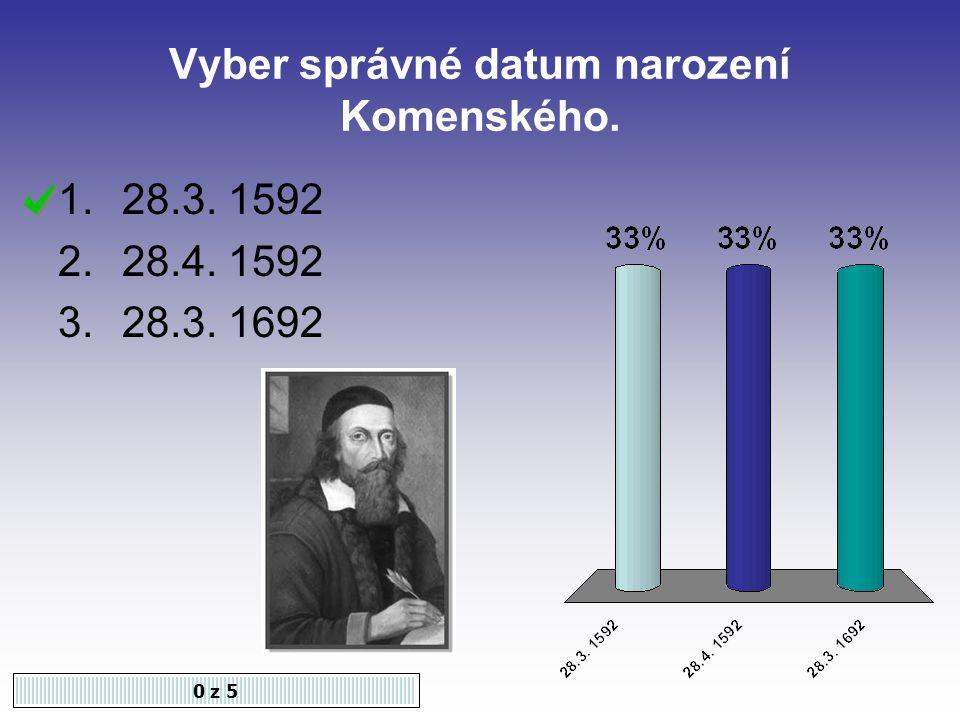 Vyber správné datum narození Komenského. 0 z 5 1.28.3. 1592 2.28.4. 1592 3.28.3. 1692