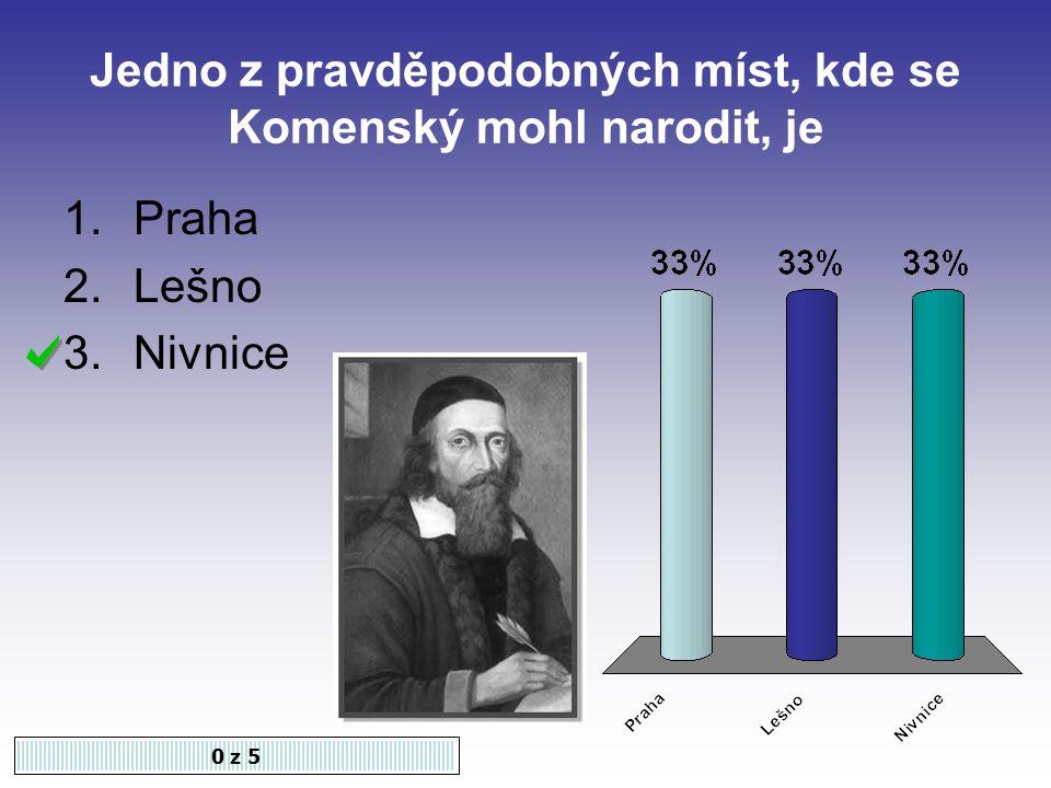 Jedno z pravděpodobných míst, kde se Komenský mohl narodit, je 0 z 5 1.Praha 2.Lešno 3.Nivnice